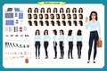 Set of Businesswoman character design.Front, side, back view animated character.Business girl character creation