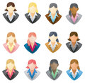 Set of businesswoman icon in full vector style with different hairstyle Royalty Free Stock Images
