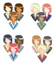 Set of businesswoman icon in group in pencil line and style create by vector Royalty Free Stock Photography