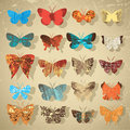 Set of butterflies with different texture Royalty Free Stock Photos