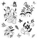Set with butterflies and flower patterns Royalty Free Stock Photo