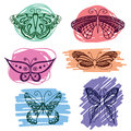 Set of butterflies silhouettes in hand-drawn style for tattoo design. Vector decorative doodle objects. Royalty Free Stock Photo