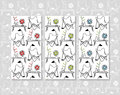 Set of butterfly chair and design objects seamless patterns Royalty Free Stock Photo