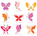Set of butterfly icons Royalty Free Stock Image