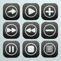 Set of buttons in black with white icons on them on a simple background Royalty Free Stock Photography