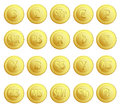 Set 20 Buttons Currency Royalty Free Stock Photo