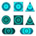 Set of buttons for design round square and triangular with a different pattern Stock Images