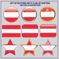 Set of buttons with flag of Austria. Vector Illustration. Royalty Free Stock Photo