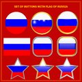 Set of buttons with flag of Russia. Royalty Free Stock Photo