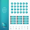 Set of buttons and icons for a website the perfect combination the flat with stylish color gradient Stock Image