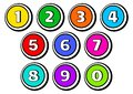 Set of buttons with numbers from 1 to 0. Vector illustration