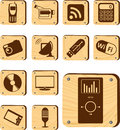 Set buttons w hi tech digital modern devices home business communications Stock Photography