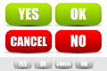 Set of buttons with words Yes, Ok, Cancel, No. Buttons for confirmation.
