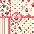 Set of cake patterns seamless Royalty Free Stock Photography