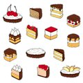 Set of cake stickers. Hand drawn illustration
