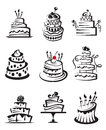 Set of cakes Stock Images