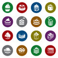 Set of cakes collection and cupcakes icons Royalty Free Stock Images