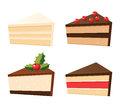 Set of cakes different cake slices Stock Photo