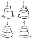 Set of cakes monochrome four Royalty Free Stock Images