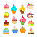 Set of cakes and pastries. Sweet desserts. Vector, illustration isolated on white background EPS10.