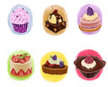 Set of cakes raster illustration various Stock Images