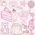 Set of Cakes, Sweets and Desserts Stock Photography