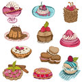 Set of cakes sweets and desserts hand drawn in Royalty Free Stock Photography