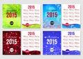 Set of 2015 calendar template brochure design.