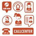 Set of call center operator icons. vector