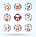Set of call center operator icons. vector.
