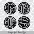 Set of calligraphic capital letters with abstract pattrn into round shapes  - p, r, t, s Royalty Free Stock Photo