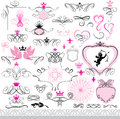 Set of calligraphic design elements and page decor decoration with heart crown flower angel dove abstract decorative hand drawn Royalty Free Stock Image
