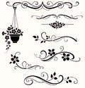 Set of calligraphic floral elements. Vector decorative twigs and flowers Royalty Free Stock Photo