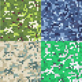 Set of camouflage military background in pixel style.