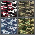 Set of camouflage seamless patterns background. Classic clothing style masking camo repeat print. Green,brown,black