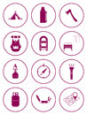 Set of camping equipment icons