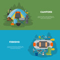 Set of camping and fising flat design.
