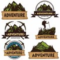Set of Camping Logos, Templates, Vector Design Elements, Outdoor Adventure Mountains and Forest Expeditions. Vintage Emblems and B