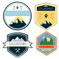 Set of camping and outdoor activity logos.