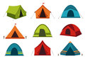 Set of camping tent vector icons on white background.