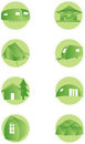 Set of camping web icons illustrated green isolatedon white background Royalty Free Stock Image