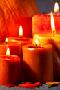 Set of Candles and pumpkin Royalty Free Stock Photo