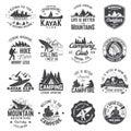 Set of canoe, hiking, kayak and camping club badge Royalty Free Stock Photo