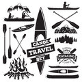 Set of canoe and kayak design elements. Royalty Free Stock Photo