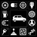 Set of Car, Car parts, Frost, Gearshift, key, Steering wheel, Alloy Gas station, editable icon pack Royalty Free Stock Photo