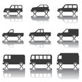 Set of car icons transportation traffic vehicles icon different types cars profile with mirror reflection illustration cutout Royalty Free Stock Image