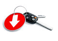 Set of car keys and keyring isolated on white with arrow on red Royalty Free Stock Photo