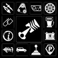 Set of Car parts, Parking, Gearshift, Car, Battery, Information, Gas station, Break, editable icon pack Royalty Free Stock Photo