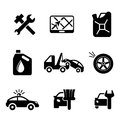 Set of car service and automobile icons including tools road sign oil petrol containers tow truck wheel tyre jerry can police Stock Image