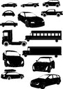 Set of car vectors black and white rigorous Stock Photos
